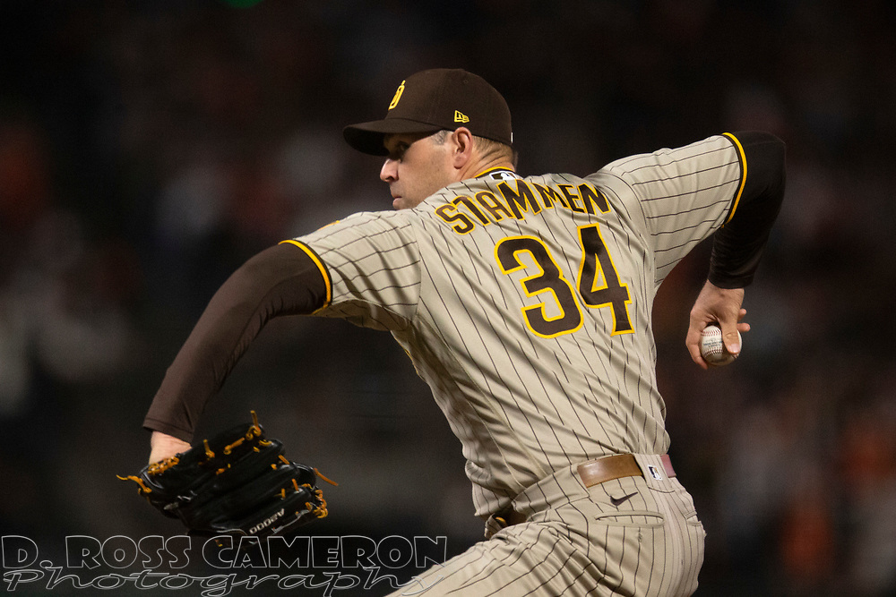 Oct 1, 2021; San Francisco, California, USA; San Diego Padres pitcher Craig Stammen (34) delivers a pitch against the San Francisco Giants during the seventh inning at Oracle Park. Mandatory Credit: D. Ross Cameron-USA TODAY Sports