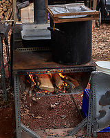 Starting the Fire for the Maple Syrup Boil-down. Image taken with a Leica CL camera and 23 mm f/2 lens