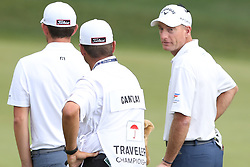 June 21, 2018 - Cromwell, Connecticut, United States - CROMWELL, CT-JUNE 21: Jim Furyk (R) on the 15th green during the first round of the Travelers Championship on June 21, 2018 at TPC River Highlands in Cromwell, Connecticut. (Credit Image: © Debby Wong via ZUMA Wire)