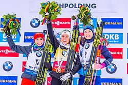 19.01.2020, Chiemgau Arena, Ruhpolding, GER, IBU Weltcup Biathlon, Verfolgung, Damen, Siegerehrung, im Bild v.l. Paulina Fialkova (SVK), Tiril Eckhoff (NOR), Hanna Oeberg (SWE) // f.l. Paulina Fialkova of Slovakia Tiril Eckhoff of Norway and Hanna Oeberg of Sweden during the winner ceremony for the women's persecution competition of BMW IBU Biathlon World Cup at the Chiemgau Arena in Ruhpolding, Germany on 2020/01/19. EXPA Pictures © 2020, PhotoCredit: EXPA/ Stefan Adelsberger