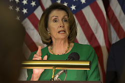 April 28, 2017 - Washington, District Of Columbia, U.S. - Democratic Minority Leader NANCY PELOSI (D-CA) holds a press conference on President Trumps' 100th day in office at the U.S. Capitol. (Credit Image: © Alex Edelman via ZUMA Wire)