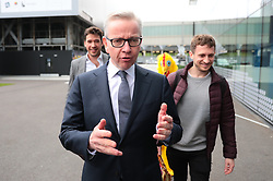 © Licensed to London News Pictures. 16/06/2019. London, UK. Michael Gove arrives for the first televised debate between Conservative Party leadership contenders. Frontrunner Boris Johnson has said that he will not take part in the Channel 4 debate. Photo credit: Rob Pinney/LNP