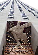 Wisdom and Knowledge General Electric Building facade, Rockefeller Center, NYC, USA