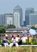 © Licensed to London News Pictures. 25/07/2012. London, UK On the day it was announced that Britain is in the longest double dip recession on record tourists take in the view of The City of London's Canary Wharf in the sunshine from Greewhich Pier. . Photo credit : Stephen Simpson/LNP