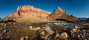 Lava Canyon Rapid (aka Chuar Rapid) at Colorado River Mile 66, Grand Canyon National Park, Arizona, USA. Day 4 of 16 days boating 226 miles down the Colorado River in Grand Canyon National Park. Multiple overlapping photos were stitched to make this panorama.