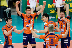 Vid Jakopin, Alen Sket, Matevz Kamnik, Oliver Venno and Dejan Vincic  of ACH react at  match for 3rd place of CEV Indesit Champions League FINAL FOUR tournament between PGE Skra Belchatow, POL and ACH Volley Bled, SLO on May 2, 2010, at Arena Atlas, Lodz, Poland. Belchatow defeated ACH 3-1. (Photo by Vid Ponikvar / Sportida)