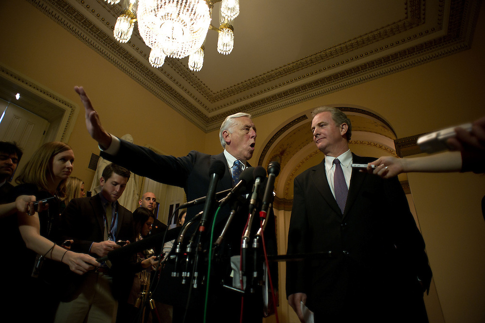 House Minority Whip Rep. Steny Hoyer (D-MD) and Rep. Chris Van Hollen (D-MD) address reporters during a press availability on the payroll tax cut vote empass on Wednesday, Dec. 21st, 2011 in Washington. (Photo by Jay Westcott/Politico)