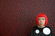 Japanese artist Yayoi Kusama, in her offices/studio,  Tokyo, Japan, on Wednesday, Oct. 18,  2006.