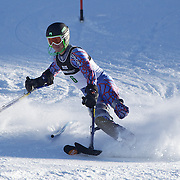 Patrick Parnell, USA, in action during the Men's Slalom Standing, Adaptive Slalom competition at Coronet Peak, New Zealand during the Winter Games. Queenstown, New Zealand, 25th August 2011. Photo Tim Clayton