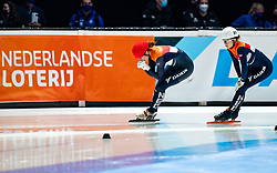 Suzanne Schulting of Netherlands, Selma Poutsma of Netherlands in action on 500 meter during ISU World Short Track speed skating Championships on March 06, 2021 in Dordrecht