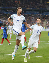 13 June 2017 International Football Friendly Match - France v England :<br /> England captain Harry Kane (9) celebrates his second goal with Gary Cahill.<br /> Photo: Mark Leech.