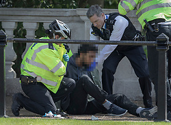 © Licensed to London News Pictures. 24/05/2017. London, UK. Police detain a man carrying a knife opposite Buckingham Palace just before the Changing of the Guard ceremony. Today's ceremony has been cancelled.  The terrorism threat level has been raised to critical and Operation Temperer has been deployed. 5,000 troops are taking over patrol duties under police command. Photo credit: Peter Macdiarmid/LNP