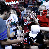 29 January 2012:  Chicago Bulls center Joakim Noah (13) signs autographs prior to the Miami Heat 97-93 victory over the Chicago Bulls at the AmericanAirlines Arena, Miami, Florida, USA.