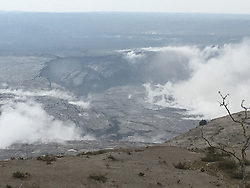 June 16, 2018 - Hawaii, U.S. - At Kilauea Volcano's summit, inward slumping of the rim and walls of Halemaumau continues in response to ongoing subsidence. In this view to the southwest taken after this morning's event, a section of dark-colored wall rock (center left) has detached and dropped downward into the crater. (Credit Image: © USGS/ZUMA Wire/ZUMAPRESS.com)
