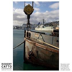 The Hikitea floating crane is a landmark on Lambton Harbour, Wellington, New Zealand
