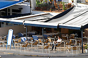 Beach-side cafe. Sitges, Catalonia, Spain