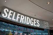 Sign for the department store brand Selfridges & Co. in Birmingham, United Kingdom.