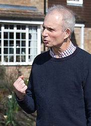 © Licensed to London News Pictures. 24/03/2019. Princes Risborough, UK.  Minister for the Cabinet Office, David Lidington, gestures as he talks to reporters outside his house. There have been reports of a cabinet revolt against Prime Minister Theresa May, over her handing of the Brexit negotiations with some MPs suggesting Mr Lidington as a temporary prime minister. Photo credit: Peter Macdiarmid/LNP