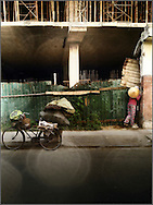 Woman collecting scrap in a street of Hue, Vietnam, Southeast Asia