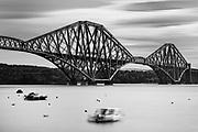 A 90-second long exposure of the Forth Bridge, a railway bridge crossing the Firth of Forrth, just north of Edinburgh, Scotland. This beautiful railroad bridge was constructured in the 1880s.