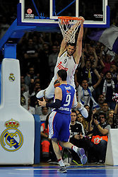 15.04.2015, Palacio de los Deportes stadium, Madrid, ESP, Euroleague Basketball, Real Madrid vs Anadolu Efes Istanbul, Playoffs, im Bild Real Madrid´s Felipe Reyes // during the Turkish Airlines Euroleague Basketball 1st final match between Real Madrid vand Anadolu Efes Istanbul t the Palacio de los Deportes stadium in Madrid, Spain on 2015/04/15. EXPA Pictures © 2015, PhotoCredit: EXPA/ Alterphotos/ Luis Fernandez<br /> <br /> *****ATTENTION - OUT of ESP, SUI*****