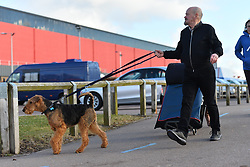 © Licensed to London News Pictures. 09/03/2017. Dogs and their owners arrive on the first day of Crufts, the world's largest dog show. The annual event is organised and hosted by the Kennel Club and has been running since 1891.<br /> Birmingham, UK. Photo credit: Ray Tang/LNP