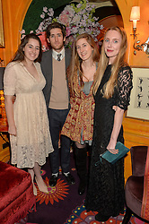 Left to right, BEATRIX NAYLOR-LEYLAND, GEORDIE NAYLOR-LEYLAND, VIOLET DAY and FLORENCE HOUSTON at a party to celebrate Alice Naylor-Leyland's Collaboration with French Sole held at Annabel's, 44 Berkeley Square, London on February 2nd 2016