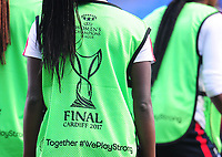 Close-up detail of the players' training bibs<br /> <br /> Photographer Kevin Barnes/CameraSport<br /> <br /> UEFA Women's Champions League Final - Pre match training session - Lyon Women v Paris Saint-Germain Women - Wednesday 31st May 2017 - Cardiff City Stadium<br />  <br /> World Copyright © 2017 CameraSport. All rights reserved. 43 Linden Ave. Countesthorpe. Leicester. England. LE8 5PG - Tel: +44 (0) 116 277 4147 - admin@camerasport.com - www.camerasport.com