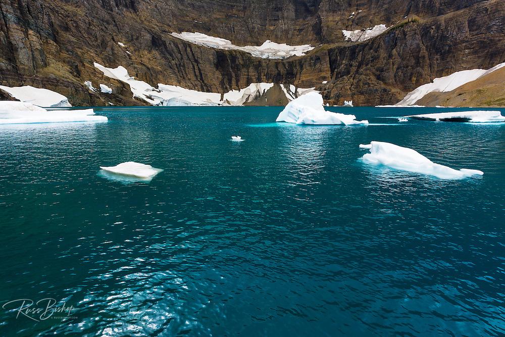 Icebergs on Iceberg Lake, Many Glacier, Glacier National Park, Montana USA
