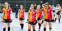 ROTTERDAM - NK Zaalhockey 2018 . halve finale dames Oranje Rood-Laren 3-5.  Teleurstelling OR. vlnr Babette van der Velden (Oranje-Rood), Maud Renders (Oranje-Rood) , Marlena Rybacha (Oranje-Rood), Lisa Post (Oranje-Rood), Daphne van der Velden (Oranje-Rood)  .   COPYRIGHT KOEN SUYK