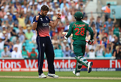 England's Liam Plunkett celebrates the wicket of Bangladesh's Tamim Iqbal for 128, caught by England's Jos Buttler during the ICC Champions Trophy, Group A match at The Oval, London.