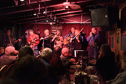 """""""Ralph"""" Walter Nelson, Stanford retired radiation physics group professor and his bluegrass band, Wild Oats 'n Honey at final concert at Sam's BBQ in San Jose."""