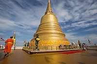 """Chedi at Wat Saket - Wat Saket a Bangkok temple dating back to the Ayutthaya era, when it was called Wat Sakae. It is usually referred to as just Wat Saket and is positioned on Golden Mountain. and therefore often called """"Temple of the Golden Mount"""".  It has become one of the icons of Bangkok."""