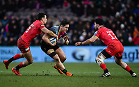 Rugby Union - 2019 / 2020 Gallagher Premiership - Harlequins vs. Saracens<br /> <br /> Harlequins' Cadan Murley is tackled by Saracens' Alex Lozowski and Dom Morris, at The Stoop.<br /> <br /> COLORSPORT/ASHLEY WESTERN