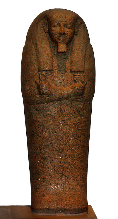 Red granite sarcophagus lid of Pahemnetjer. Nineteenth Dynasty (approx. 1250 BC) Egyptian. Possibly from Saqqara. Belonged to the coffin of the high priest of Ptah.