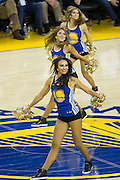 The Golden State Warriors Dance Team performs during a time out against the Oklahoma City Thunder at Oracle Arena in Oakland, Calif., on November 3, 2016. (Stan Olszewski/Special to S.F. Examiner)