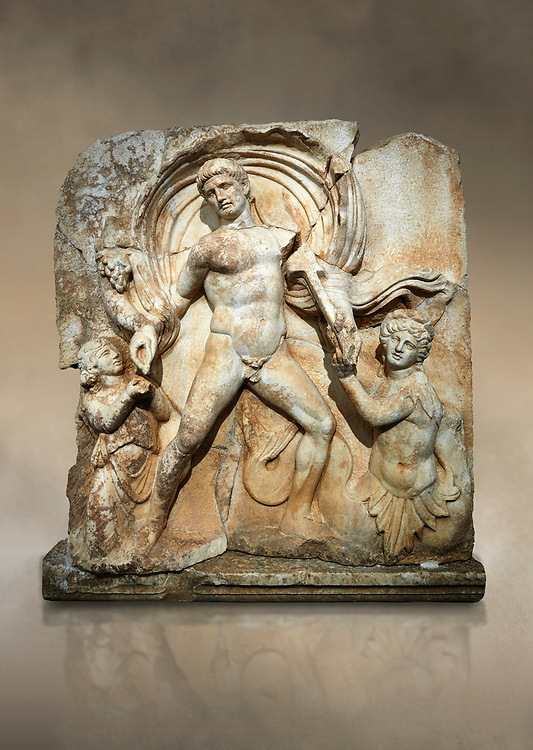 Roman Sebasteion rrelief  sculpture of Emperor Claudius as God of sea and land,  Aphrodisias Museum, Aphrodisias, Turkey.  Against an art background.<br /> <br /> The Emperor as god Claudius strides forward in a divine epiphany, drapery billowing around his head. He receives a cornucopia with fruits of the earth from a figure emerging from the ground, anda ship's steering oar from a marine tritoness with fish legs. The idea is clear: the god-emperor guarantees the prosperity of land and sea. The relief is a remarkable local visualisation - elevated and panegyrical - of the emperor's role as a universal saviour and divine protector. .<br /> <br /> If you prefer to buy from our ALAMY STOCK LIBRARY page at https://www.alamy.com/portfolio/paul-williams-funkystock/greco-roman-sculptures.html . Type -    Aphrodisias     - into LOWER SEARCH WITHIN GALLERY box - Refine search by adding a subject, place, background colour, museum etc.<br /> <br /> Visit our ROMAN WORLD PHOTO COLLECTIONS for more photos to download or buy as wall art prints https://funkystock.photoshelter.com/gallery-collection/The-Romans-Art-Artefacts-Antiquities-Historic-Sites-Pictures-Images/C0000r2uLJJo9_s0