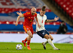 LONDON, ENGLAND - Thursday, October 8, 2020: Wales' Jonathan Williams (L) and England's Kalvin Phillips during the International Friendly match between England and Wales at Wembley Stadium. The game was played behind closed doors due to the UK Government's social distancing laws prohibiting supporters from attending events inside stadiums as a result of the Coronavirus Pandemic. England won 3-0. (Pic by David Rawcliffe/Propaganda)