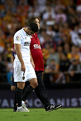 October 8, 2018 - Valencia, Valencia, Spain - Gonzalo Guedes injured during the week 8 of La Liga match between Valencia CF and FC Barcelona at Mestalla Stadium in Valencia, Spain on October 7, 2018. (Credit Image: © Jose Breton/NurPhoto/ZUMA Press)