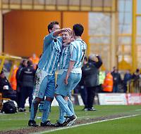Photo: Kevin Poolman.<br />Wolverhampton Wanderers v Coventry City. Coca Cola Championship. 08/04/2006. Stephen Hughes (L), Gary McSheffrey (C) and Richard Duffy celebrate Gary McSheffrey's goal.