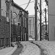 A snow covered alley in Old Towne Fredericksburg, VA.