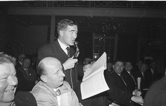 Dr Jim Brosnan, Chairman Kerry County Board (with microphone) speaking at the Annual Congress of the GAA at the Gresham Hotel, Annual Congress, GAA, Easter Sunday. 14.4.1963. 14th April 1963