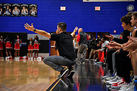 Nolensville Knights boys basketball coach Wes Lambert during the Nolensville Knights vs East Nashville Sub-State basketball playoff game at Nolensville High Monday, March 4, 2019.  The Knights ended the season with a 71-56 loss.<br /> Photo Harrison McClary/News & Observer