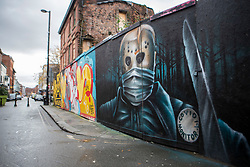© Licensed to London News Pictures. 19/10/2020. Manchester, UK. A poster in Northern Quarter shows horror character as a Covid Monitor.. Photo credit: Kerry Elsworth/LNP