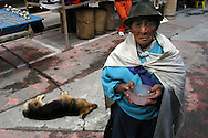 A women poses for a portrait  at the Plaza de Ponchos  Market, Otavalo, Ecuador.