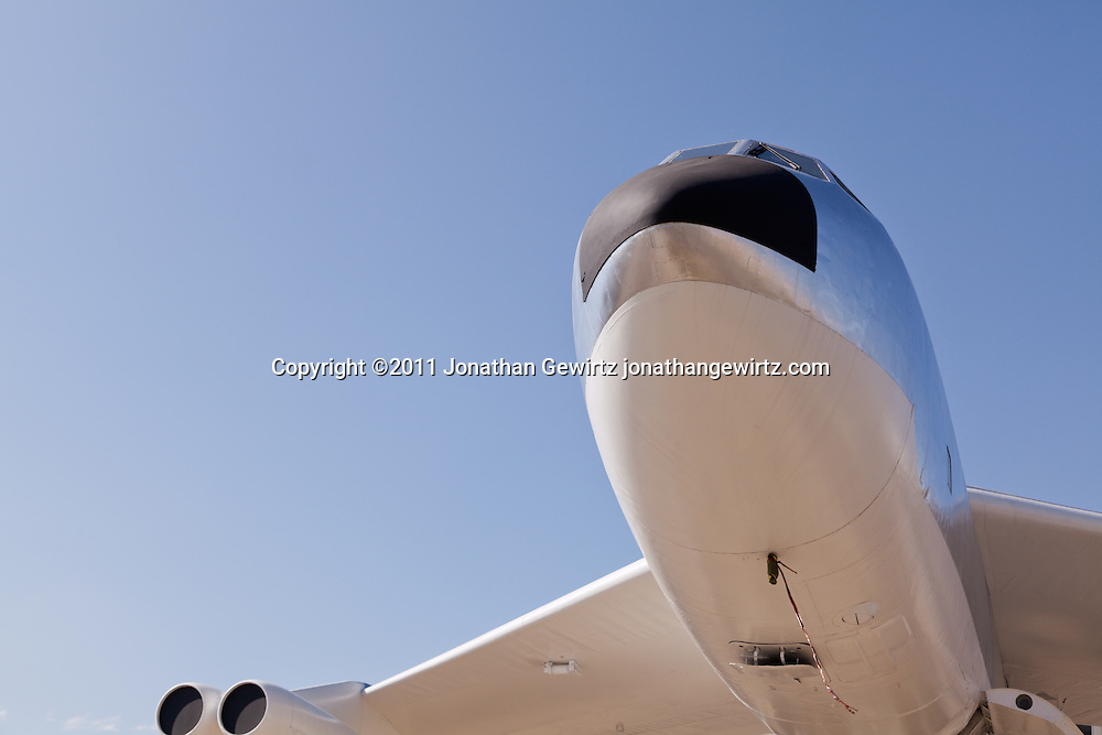 The cockpit and underside of the nose and wing leading edge and one of the right engine nacelles of a Boeing  B-52B Stratofortress aircraft on static display. WATERMARKS WILL NOT APPEAR ON PRINTS OR LICENSED IMAGES.