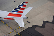 Aerial view (from control tower) of American airliner at London Heathrow airport.
