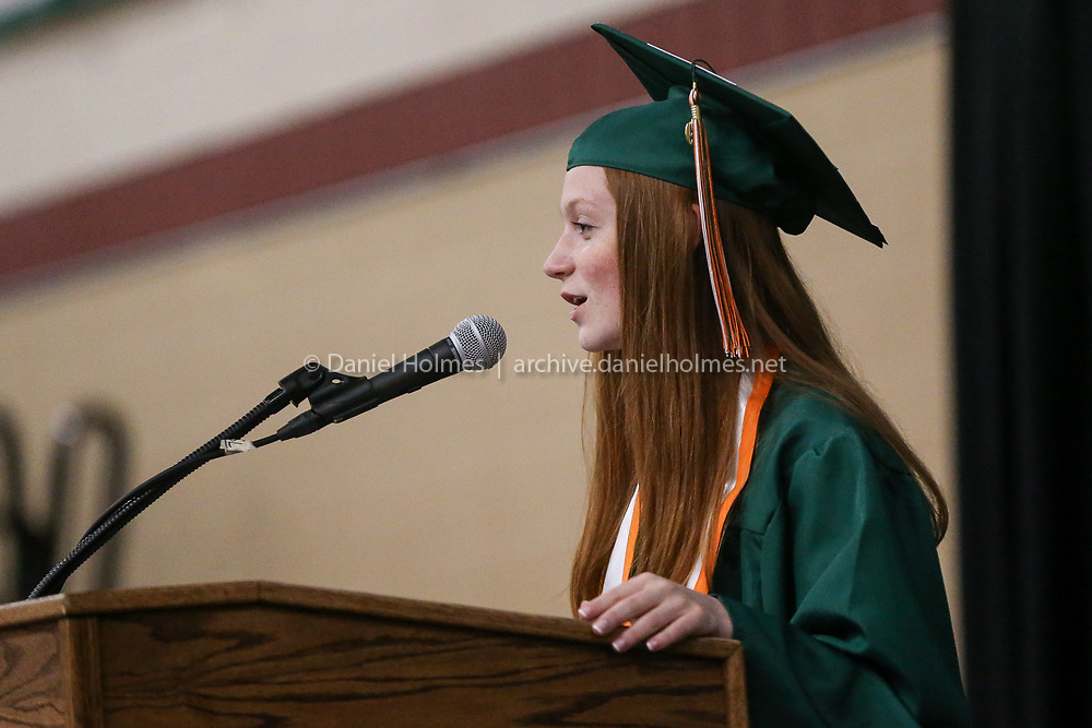 (5/31/19, HOPKINTON, MA) Kinsley Rolph delivers her speech during graduation at Hopkinton High School on Friday. [Daily News and Wicked Local Photo/Dan Holmes]
