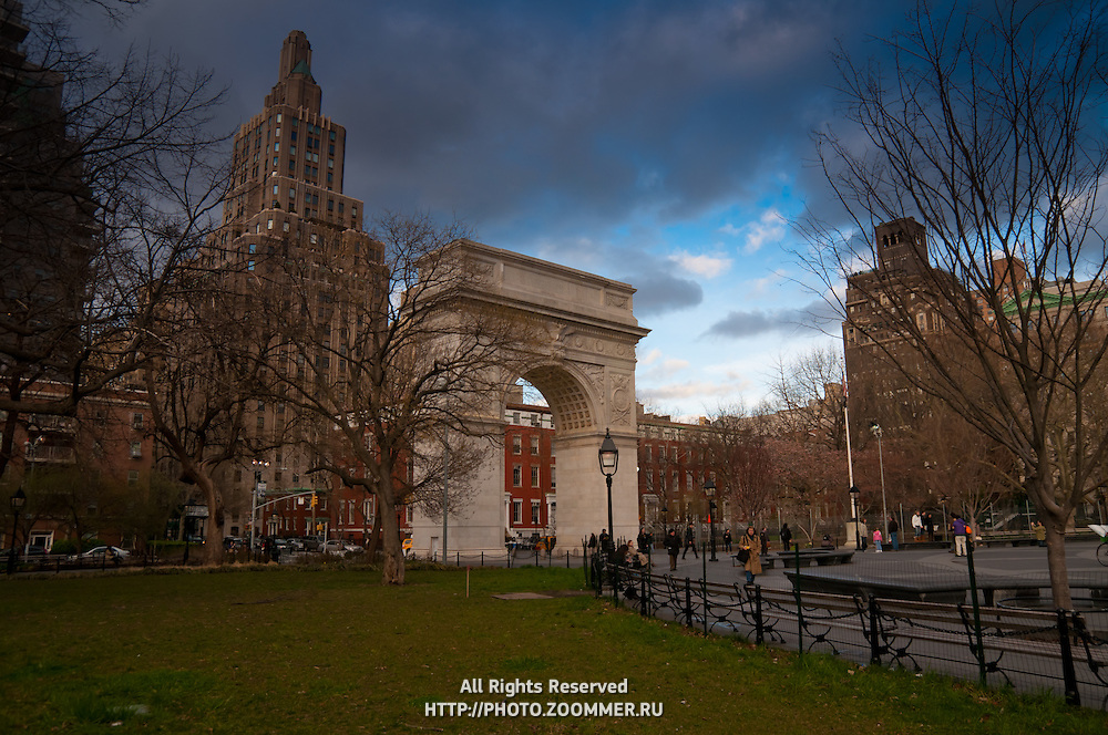 Dark rainy clouds over Washington Square Arch, Manhattan, New York