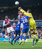 Aston Villa's Pierluigi Gollini punches the ball clear under pressure from Birmingham City's Michael Morrison<br /> <br /> Photographer James Williamson/CameraSport<br /> <br /> The EFL Sky Bet Championship - Birmingham City v Aston Villa - Sunday October 30th 2016 - St Andrews - Birmingham<br /> <br /> World Copyright © 2016 CameraSport. All rights reserved. 43 Linden Ave. Countesthorpe. Leicester. England. LE8 5PG - Tel: +44 (0) 116 277 4147 - admin@camerasport.com - www.camerasport.com